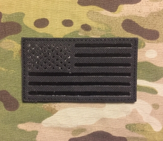 JTG USA Flag Infra Lasercut Cordura Patch - Black nášivka