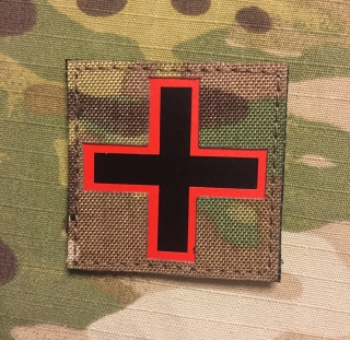 JTG Red Cross Infra Lasercut Cordura Patch - Multicam nášivka