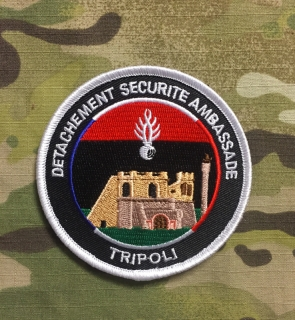 PoliceFirePatches France Gendarmerie Nationale Detachment Securite Ambassade - Tripoli - nášivka