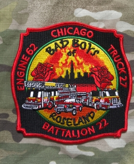 911Patches Chicago Fire Department Engine 62 Truck 27 Battalion 22 Patch - nášivka