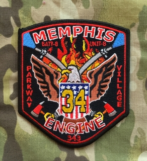 911Patches Memphis Fire Department Engine 34 Battalion 8 Unit 8 Patch - nášivka