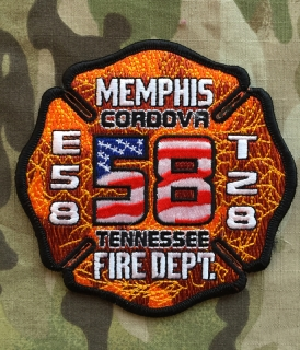 911Patches Memphis Fire Department Engine 58 Truck 28 Patch - nášivka