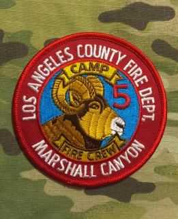 911Patches Los Angeles County Fire Department Camp 5 Fire Crew Marshall Canyon Patch - nášivka