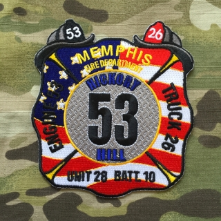 911Patches Memphis Fire Department Engine 53 Truck 26 Unit 28 Batt 10 Patch - nášivka