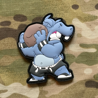 MoralPatches Fitness Hippo Squad - Stone Lifting PVC Patch - nášivka