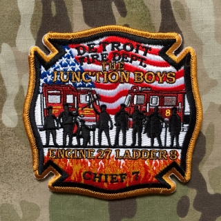 911Patches Detroit Fire Department Engine 27 Ladder 8 Chief 7 Patch - nášivka