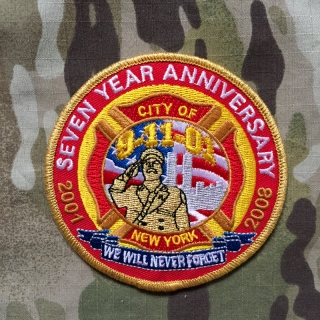 911Patches SNew York City Fire Department 9-11-01 7 Year Anniversary Patch - nášivka