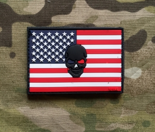 101inc USA Skull Flag PVC Patch - nášivka