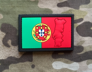 101inc Contour Flag Portugal PVC Patch - nášivka