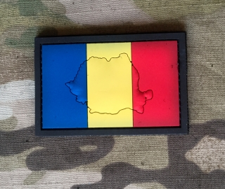 101inc Contour Flag Romania PVC Patch - nášivka
