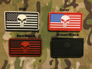 YJPF Punisher Skull American Flag PVC Patch