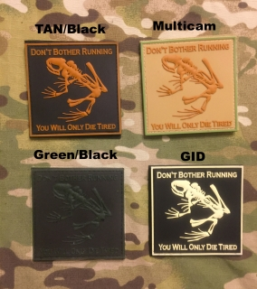 YJPF Don´t Bother Running Frog Skull PVC Patch