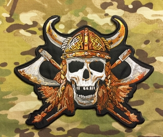 Biker Patch Viking Skull - Big - nášivka
