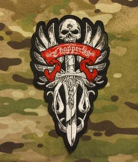 Biker Patch Chopper Skull Sword Wings - nášivka